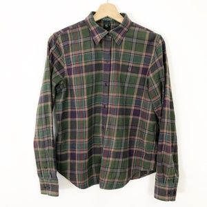 Lauren Ralph Lauren Plaid Green Purple Flannel